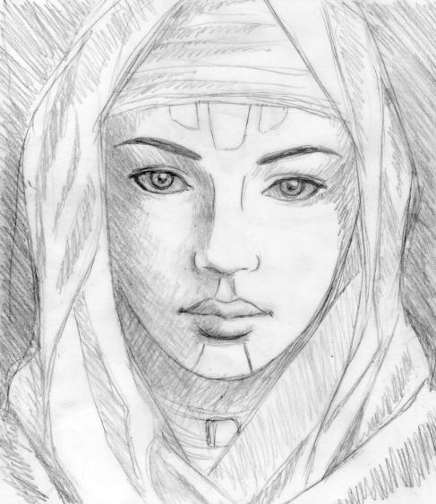 """ Fremen girl "", pencil on tracing paper, "" Dune "" series"