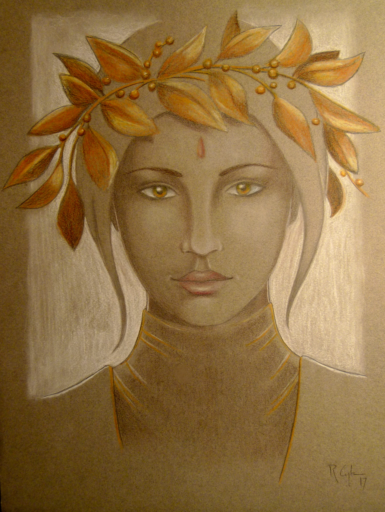 """"""" The tenth muse """", black pencil, color pencil and pastel on paper"""