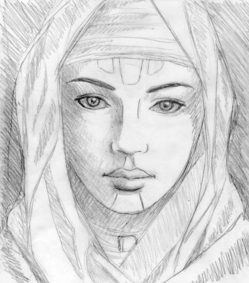 """ Fremen girl "", black pencil on tracing paper, "" Dune "" series"