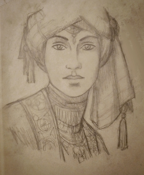 """"""" Sappho """", black pencil on tracing paper"""