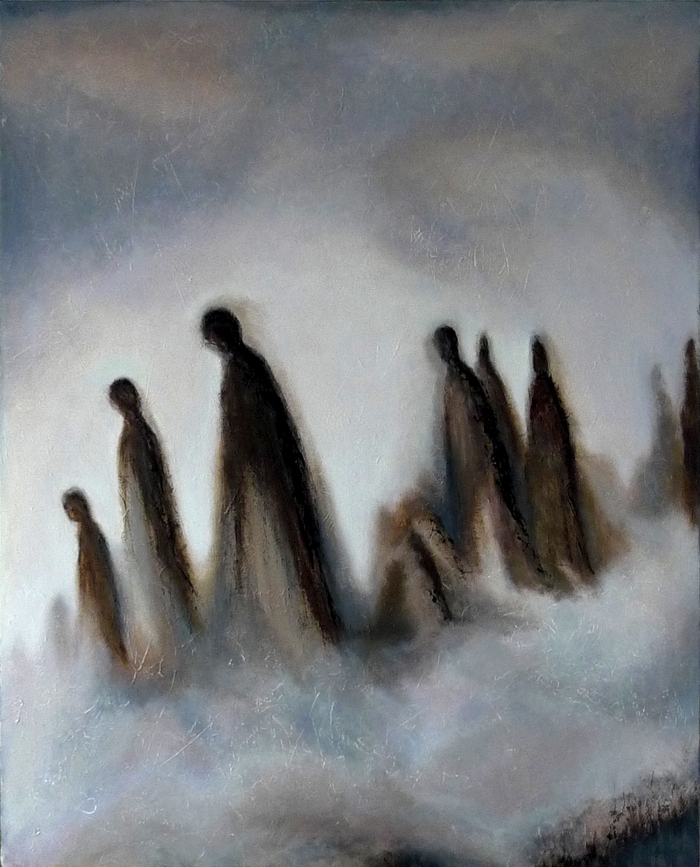 """ Silence "", oil, charcoal and pastel on canvas, private collection"