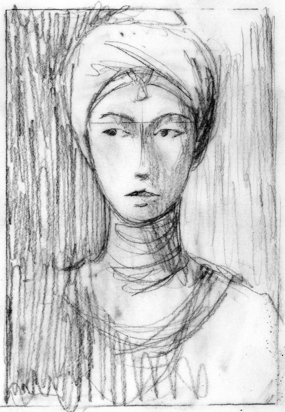 """"""" Sappho """", black pencil on tracing paper, 3 mn sketch"""
