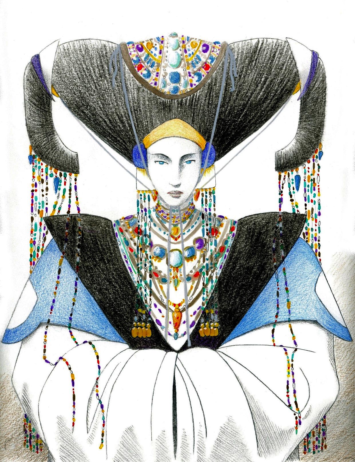 """"""" Circe attendant Ulysse dans sa Grande Salle """", crayon noir, crayon de couleur et aquarelle sur papier"""