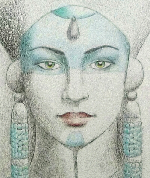""""""" The Sibyl of the North """", pencil, color pencil and watercolor on paper, private collection"""