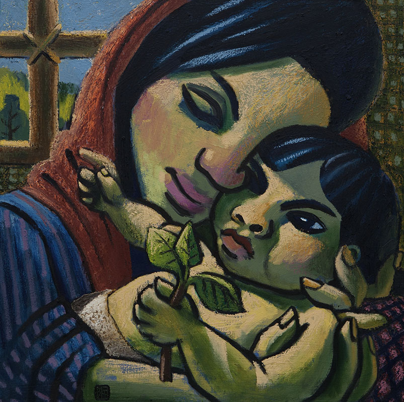 #1483 MOTHER AND CHILD AT THE WINDOW #1, 2012