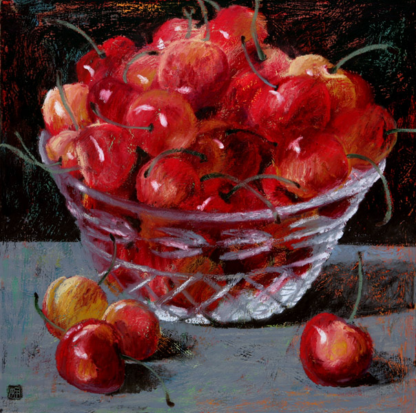 #1069 CHRYSTAL BOWL WITH CHERRIES, 2007