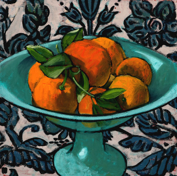 #1022 GREEN URN WITH ORANGES, 2007