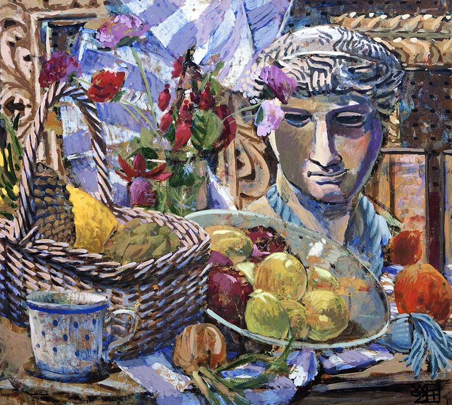 #1598 STILL-LIFE WITH ROMAN BUST, FLOWERS AND FRUIT, 1993