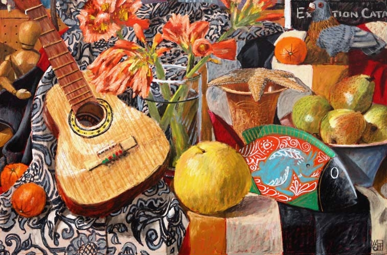 #961 STILL-LIFE WITH GUITAR, GRAPEFRUIT AND FISH, 2006