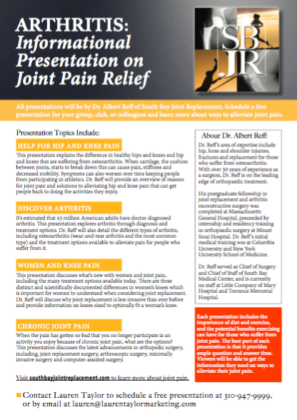 Free Joint Health Presentation - If your club, organization, or work place would like a free presentation on joint health conducted by Dr. Albert Reff, download this flyer!