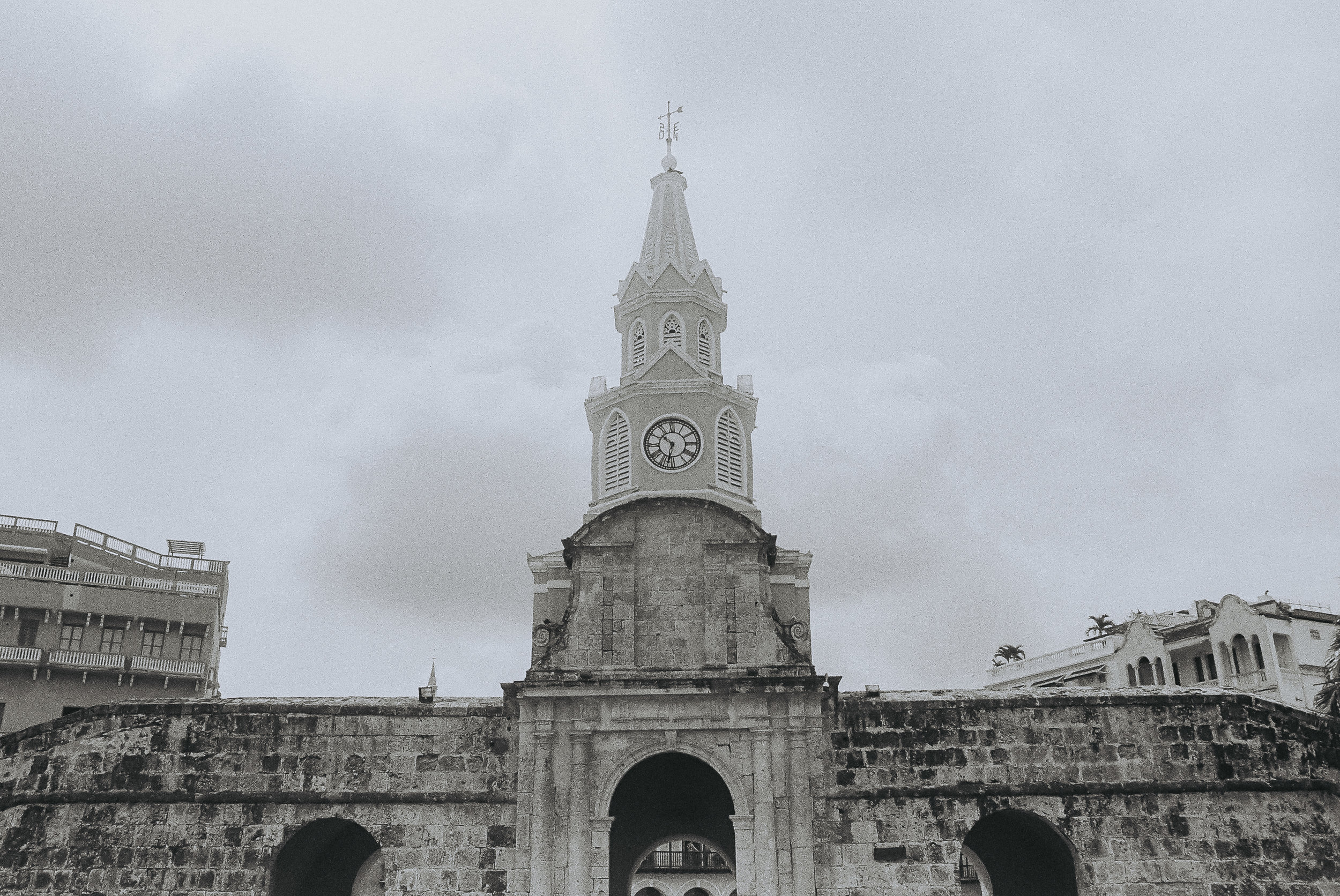 The main entrance to the walled city of Cartegena, Colombia.