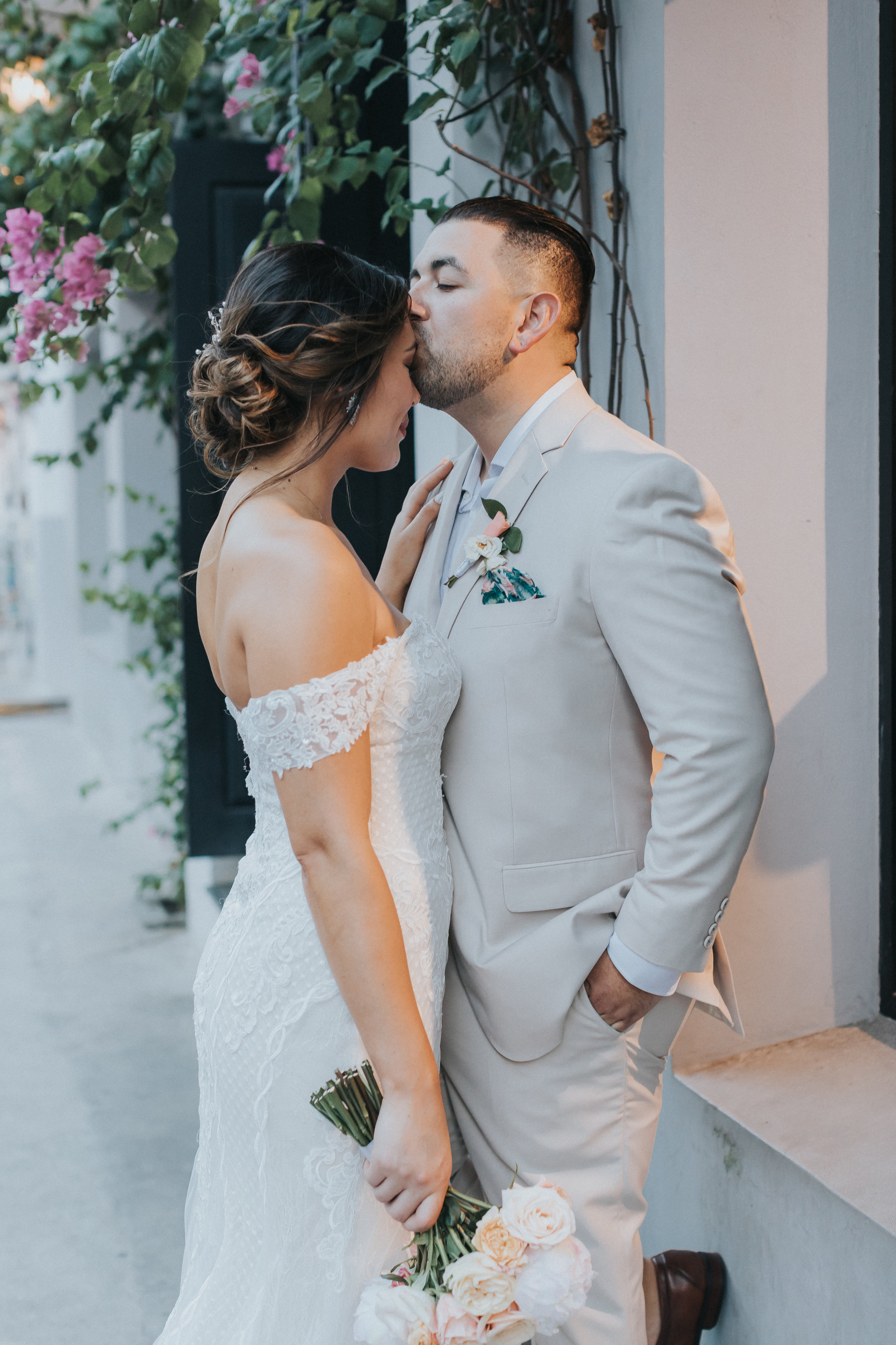 Karissa and Isreal post ceremony on the streets of Casco Viejo.