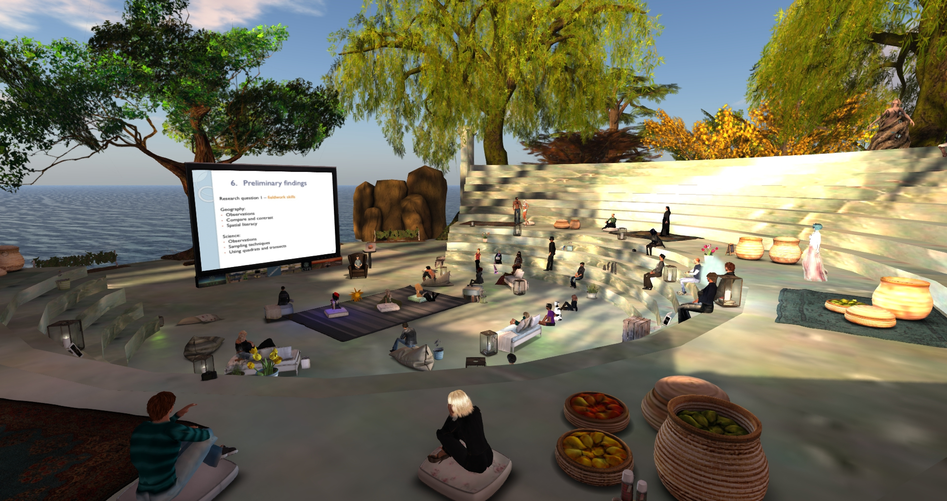 Audience in the Science Circle island of Second Life (picture courtesy: Chantal Snoek, Founder, Science Circle)