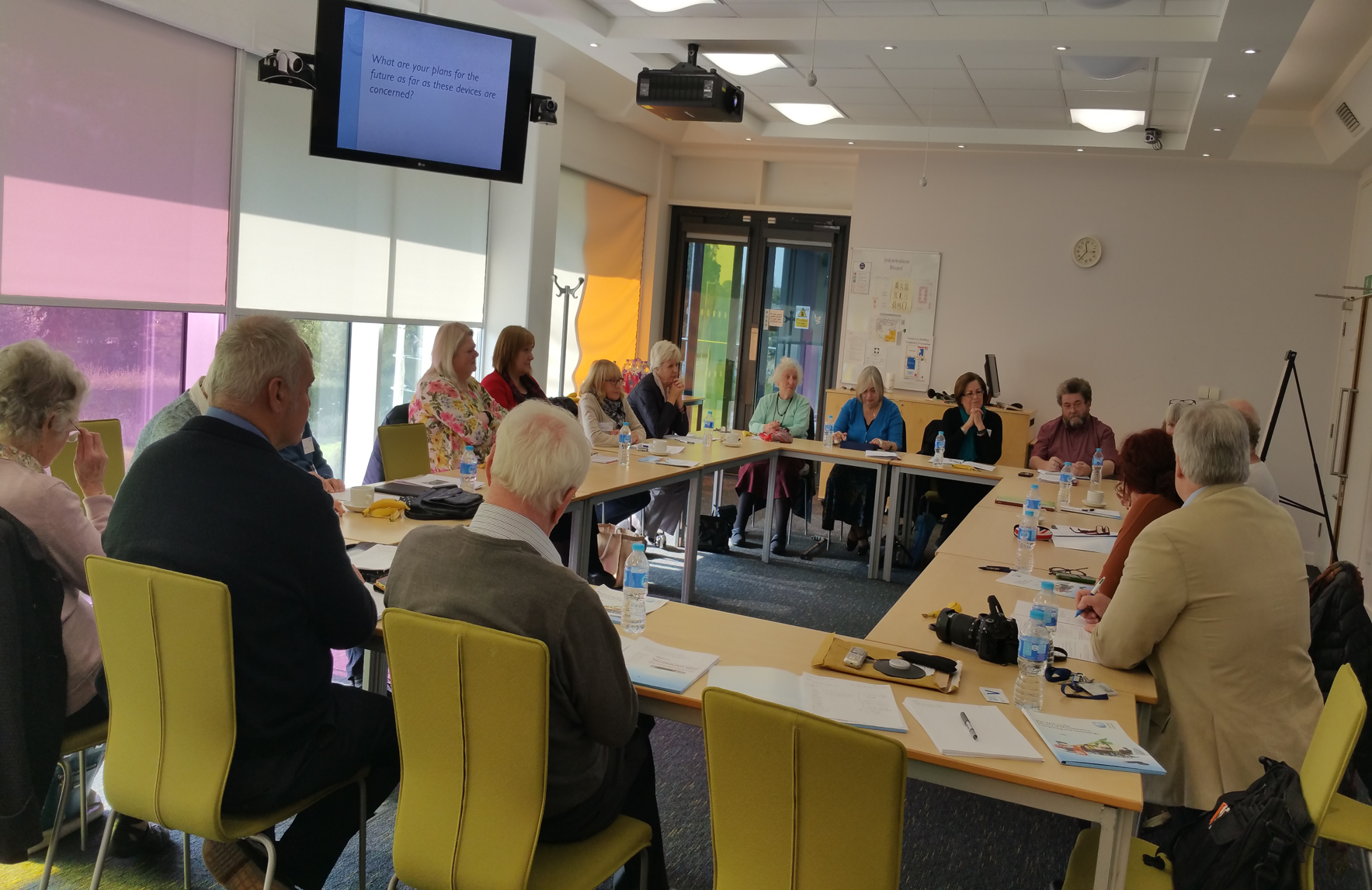 Photo:  Workshop at The Open University's campus in October 2016.  The participants (people aged over 55 years) came in to discuss their experiences of using the activity monitoring trackers  (Sir Halley Stewart Trust-funded project)
