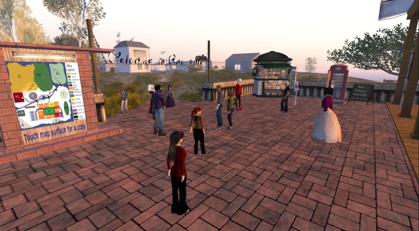 Educators gathering in Second Life ahead of the Virtual Worlds Education Roundtable's weekly meeting