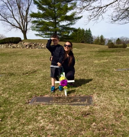 My son & I at my Dad's grave