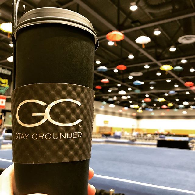 Switching to my #gymmom hat for an action packed day of #gymnastics at the @charitychoiceinvitational today.  Powered by a #gigantic cup of #coffee from Gravity Coffee