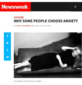 High on Anxiety    Newsweek  February 14, 2011