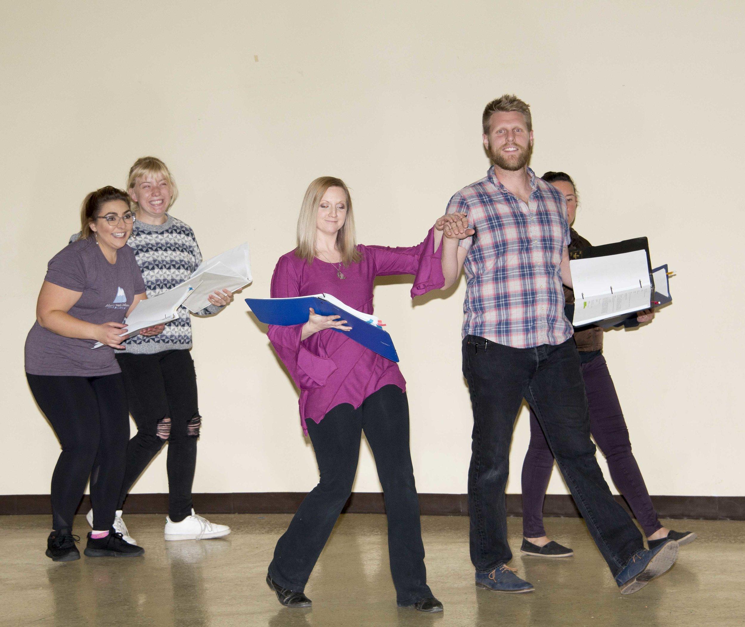 Rehearsing for Into the Woods - Nina Potter, Diana Bodine, Laura Whiteside and Ryan Fitt.JPG