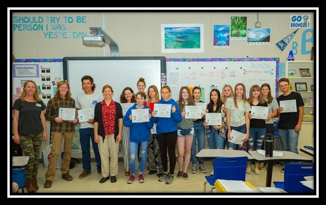Some of the participating students with their Trig*Star participation certificates with BUHS math teacher Deidre Buchholz: Thomas Zentmyer, Justin Brooks, Sereyna Cagle of Caltrans, Emma Ranney, Joy Law, Clara Place, Lauren Wesling, Haley Yarborough, Emily Batcheller, Amelia Marcuson, Izabelle Elwell, Maddy Foster, Tylor Dailey, McKenna McMurtrie, Cheyenne Yeager, and William Stange.