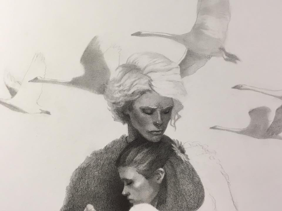 Plotting and filling in simple shapes for the background of swans. Less is more.