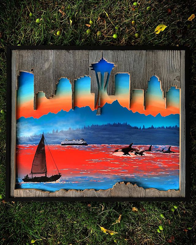 I bet most of people from this area know the view from Seattle looking toward the Olympics. All of the best things to remind you of the naturally beautiful part of Seattle or home ❤️ Now available for purchase 🤗 www.woodensense.com . . . #Woodensense#Art#Artist#Paint#Painting#AcrylicPainting#InstaArt#PNW#PacificNorthwest#Carpentry#Washington#WoodWorking#ReclaimedWood#Painter#PNWonderland#FineArt#Wander#RealisticArt#WestCoast#Artwork#Whales#Trees#Seattle#Orcas#ArtOfTheDay#NaturePainting#WoodArt#WoodWorkingporn#PhotoRealism#PugetSound