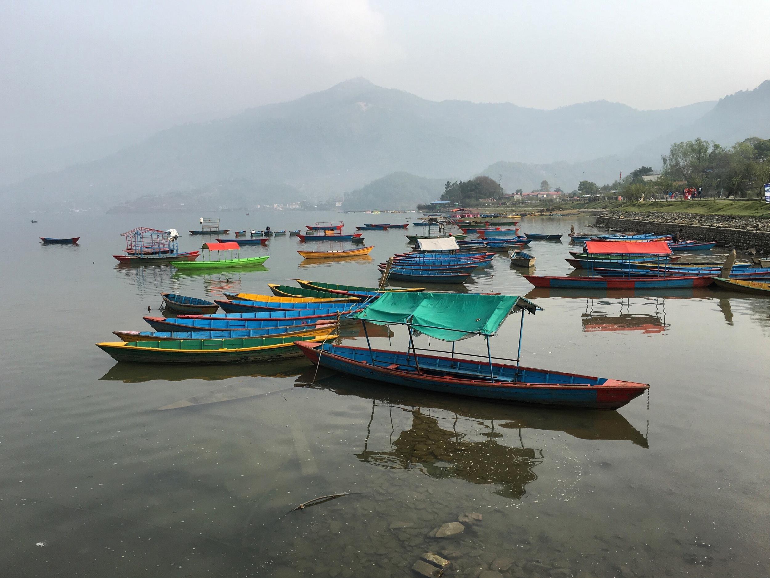 Boats in Phewa Lake, Pokhara