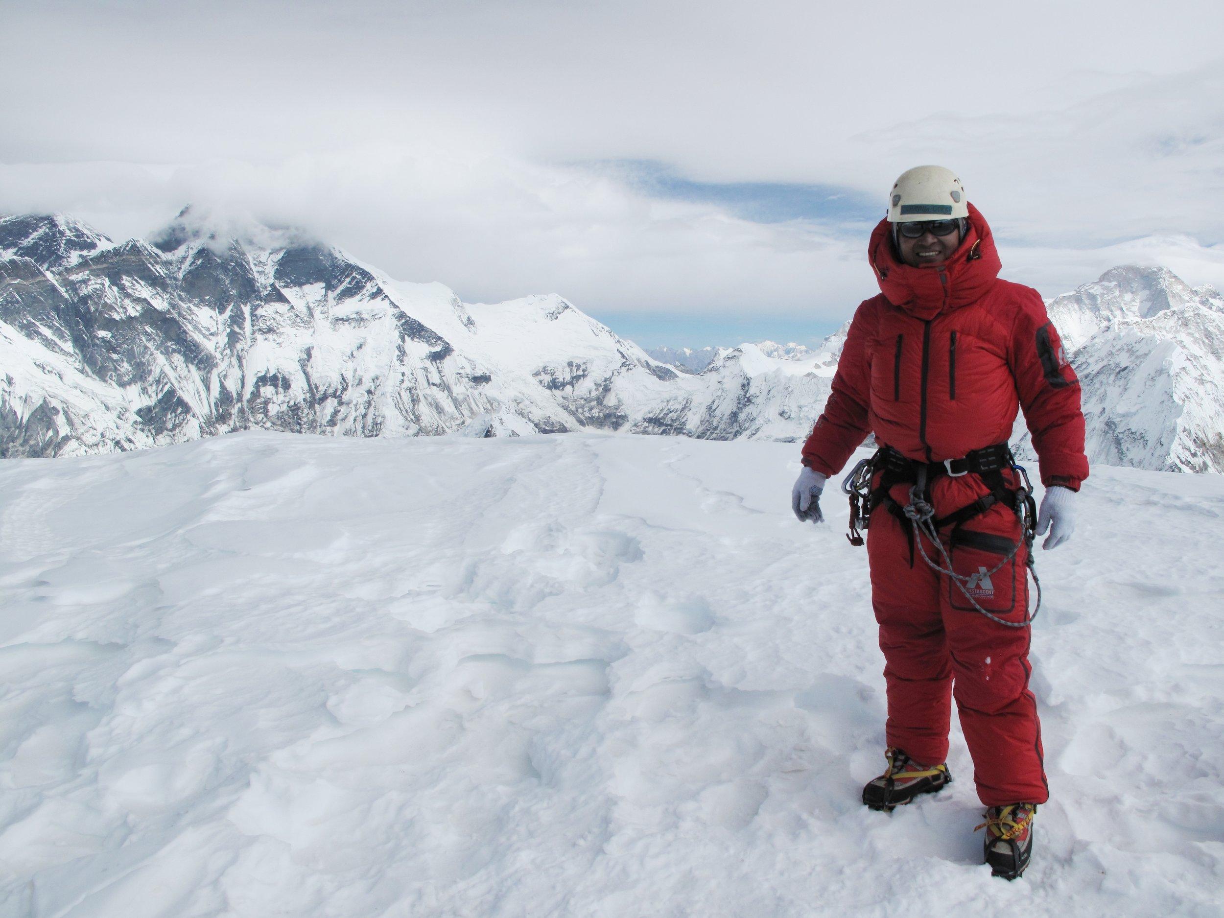 At the summit of Ama Dablam