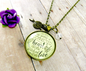 """Vintage Style Necklace by Gutsy Goodness """"My yarn is connected to my heart, each row stitched with love"""""""