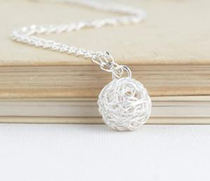 Sterling Silver Ball of Yarn Necklace  by Jacaranda Designs