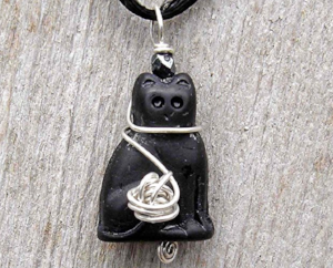Black Cat with Silver Yarn Ball Pendant  by Nicholas and Felice