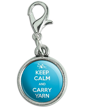 """I think this  """"Keep Calm and Carry Yarn"""" clip  would be an adorable stitch marker or crochet bag accessory :)"""