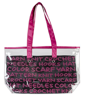 Because I always  need more yarn totes -and I actually really love that this is transparent so you can see what is inside. AND it's actually a Lion Brand Yarns product :) Comes in pink, green, blue and white.
