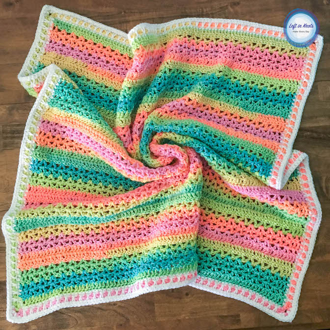 The Unicorn Stripes Baby Blanket gives you all the colors of the rainbow without a bunch of ends to weave in! Just use the new Red Heart Super Saver Stripes to make this simple and colorful blanket! This free crochet pattern is beginner friendly and includes tips for adjusting the size.