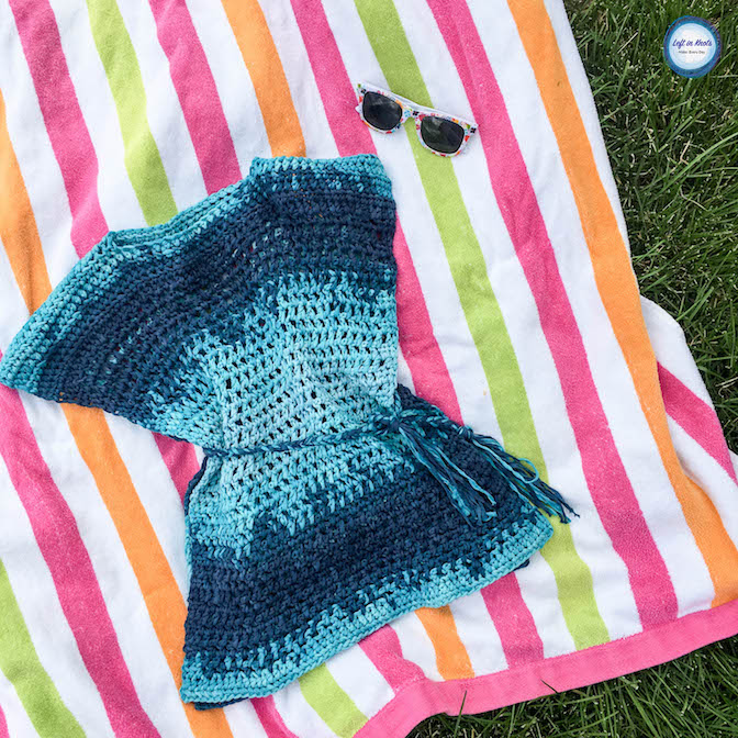 The Ocean Waves Cover Up is designed to have solid stitching at the shoulders to protect that sensitive area from sun and an open-mesh throughout the rest of the piece for fast drying! It's perfect for a beach day or pool party. This free crochet pattern is extremely easy (beginner friendly!) and used just over 500 yards of yarn. I have tips for you below if you want to increase or decrease the size of the cover up!