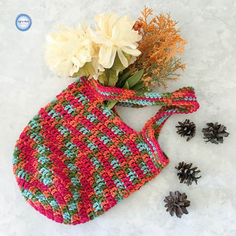 """This Mini Market Bag is a perfect one skein crochet project perfect for learning, teaching, gifting or selling! It is SO simple that I am adding it to my """"Crochet Basics"""" collection. Enjoy my newest free pattern :)"""