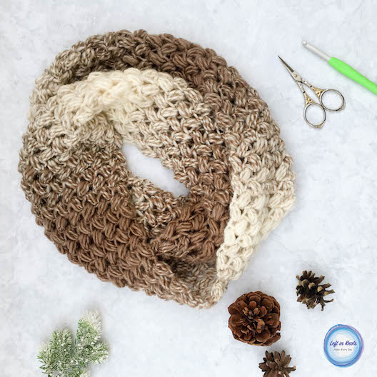 This free crochet pattern uses the cloud-like texture of Lion Brand Scarfie yarn combined with the bean stitch to make the most beautiful and comfortable infinity scarf. The Coffee Bean Infinity Scarf takes just one skein of Lion Brand Scarfie yarn and will be a perfect addition to your last-minute gift list this holiday season! This is the third free crochet pattern of my Seven Days of Scarfie pattern collection.