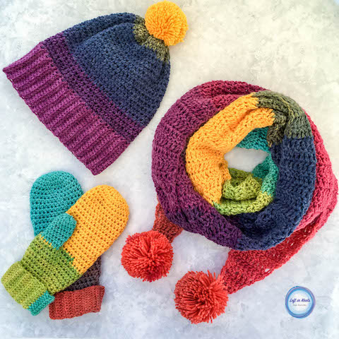 Last month I published my Chroma Scarf pattern and you guys LOVED it! So then I added the matching Chroma Slouch Hat earlier this month. Now I am adding a third piece to the Chroma collection with these pretty, cuffed Chroma Mittens. I hope you enjoy this free crochet pattern!
