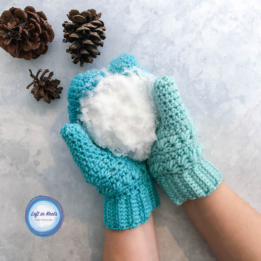 I wrote the Snow Drops Mittens pattern to match my  Snow Drops Mod Scarf  and  Snow Drops Slouch Hat , and you will only need two cakes of your favorite Caron Cakes yarn to make all three! Keep reading for the free crochet pattern AND star stitch in-the-round video tutorial.