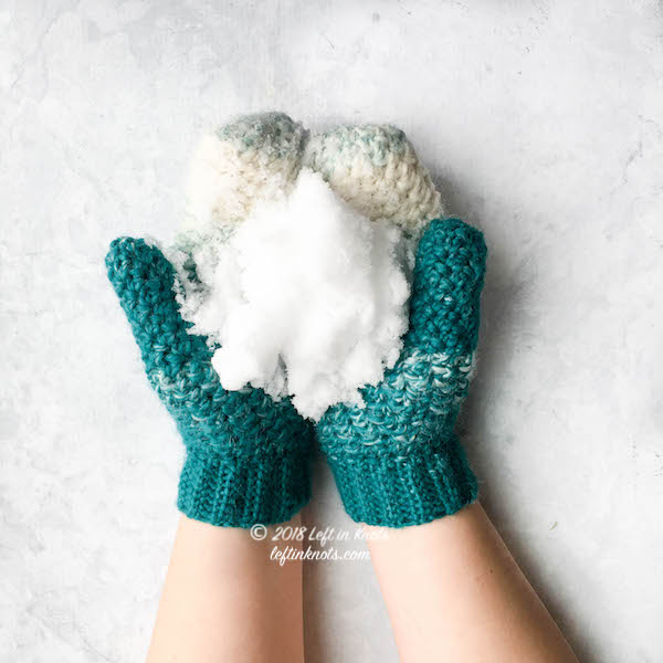 Have I inspired you to try crocheting mittens yet? I hope so! I'll definitely be back with more mitten patterns again in the future, but for now I hope you enjoy the Snowball Mittens :) They match one of my most popular patterns from my  Seven Days of Scarfie 2017  pattern collection - the  Snowball Slouch Hat . Keep reading for the free crochet pattern!