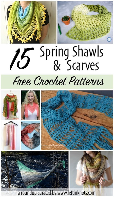 We've reached that transitional time of year where the weather just can't make up its mind!  That means its a great time to make yourself some light weight and transitional scarves and shawls, and I have gathered 15 free crochet patterns for you to pick from.  No matter your style, you are sure to find something you'll want to make for your spring wardrobe