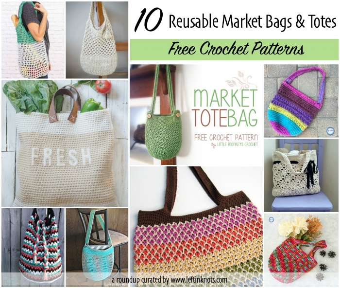 Reusable bags and market totes are perfect summer projects! They are light weight, easily portable, often require just one skein of yarn, and the best part is that they are super functional. I love making things that I will actually use! Here are 10 free crochet patterns for reusable totes and bags that you can use at your local farmer's markets, grocery store, library (for books), or even just quick trips to the park or beach.
