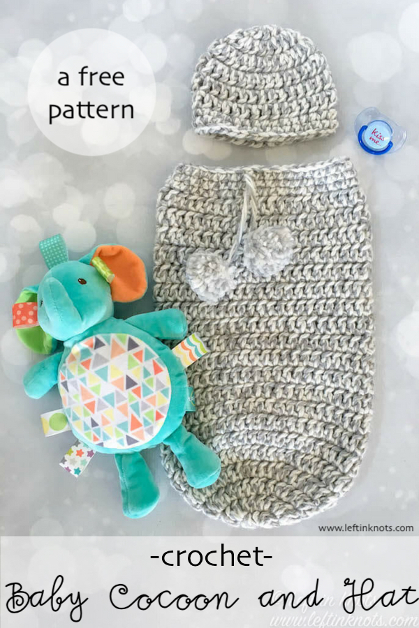 This Crochet Baby Cocoon and Hat set is a great, basic pattern to add to your collection for last minute baby gifts! It is made with super bulky Bernat Softee Chunky so it works up quickly and beautifully. A pom pom accent gives a special touch to this super simple free crochet pattern.