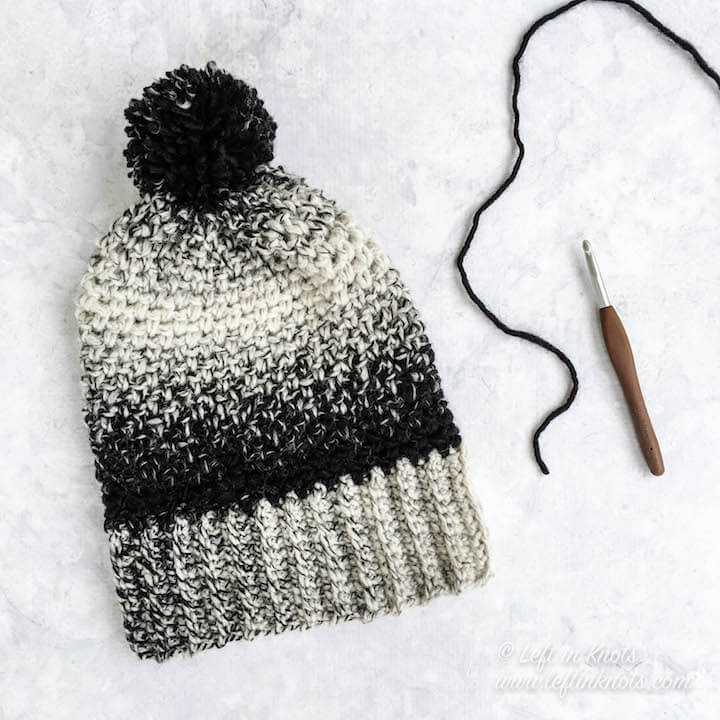 The Cookies and Cream Slouch hat matches my Cookies and Cream Cowl, which is a free, one skein pattern that was part of my 2017 collection. The Cookies and Cream Hat takes about half of a skein of Scarfie yarn, so make two or save your leftovers!