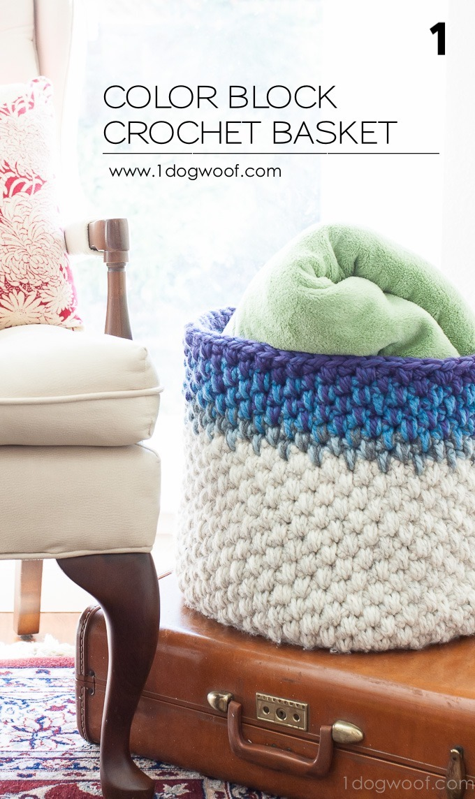 Color Block Crochet Basket