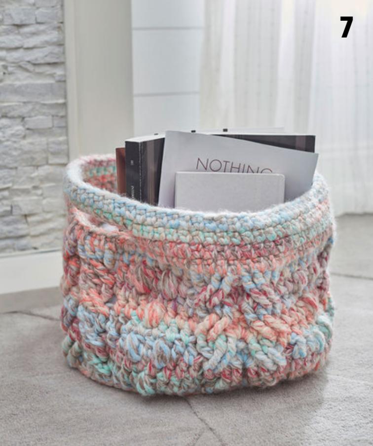 Crochet Cabled Basket