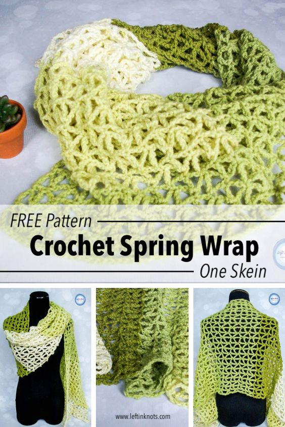 Crochet Greenery Light Weight Wrap or Scarf using one skein of Caron Cakes yarn