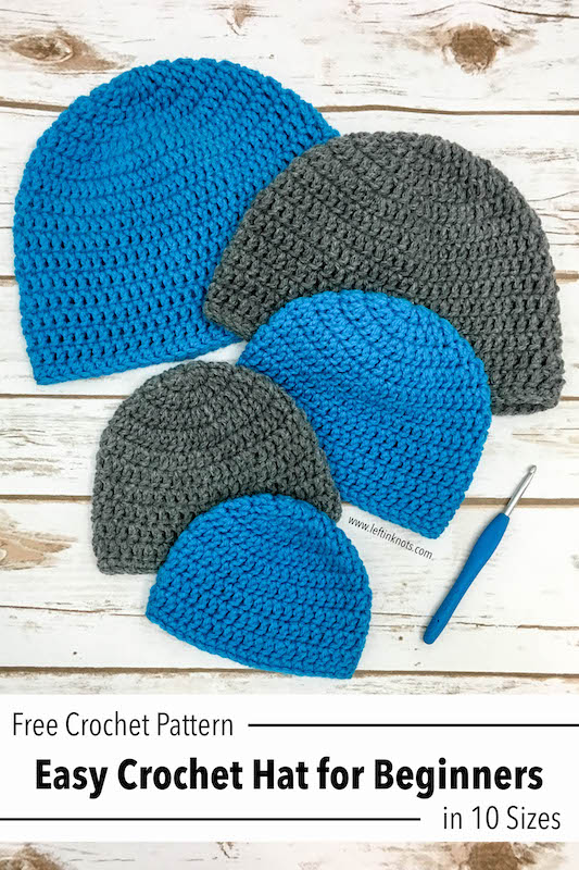 c957d573d6f6c Double Crochet Hat in 10 Sizes - Free Pattern for Beginners — Left ...