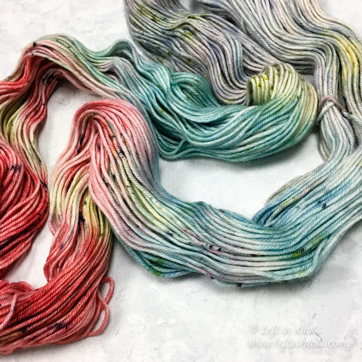 Hand dyed yarn from Handmade Home Fibers in 'Sushi Roll'