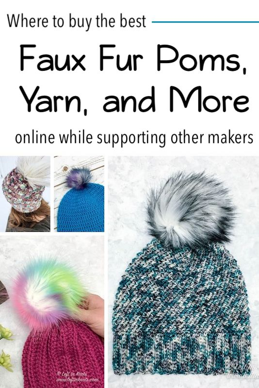 Where to buy faux fur pom poms online? I have been asked this question a lot I have been on a mission lately to support other makers as much as I can. This post will be a collection of my favorite crochet supplies and accessories from my favorite indie makers. Read to learn about products I have personally used and loved that are made by other talented people including faux fur poms, hand dyed yarn, stitch markers, custom hooks and more! Then bookmark or Pin this page and come back regularly to keep up with crafters and makers I'm loving.